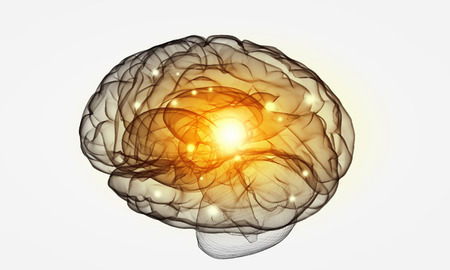 losing brain function: Science image with human brain on white background