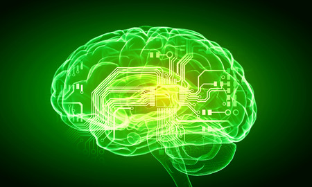 losing brain function: Science image with human brain on green background