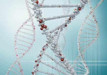 genomes: Biochemistry concept with digital blue DNA molecule Stock Photo