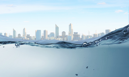 Underwater image of clear waters and city landscape