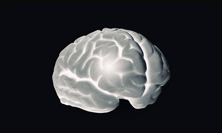 losing knowledge: Science image with human brain on dark