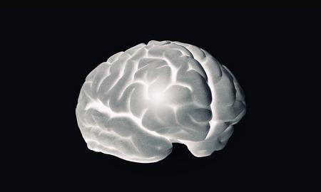 losing brain function: Science image with human brain on dark
