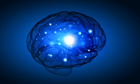 losing memories: Science image with human brain on blue background