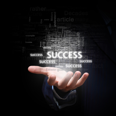 concept and ideas: Close up of businessman hand presenting business success concept Stock Photo