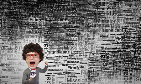 screaming head: Funny young man with big head screaming emotionally in megaphone Stock Photo