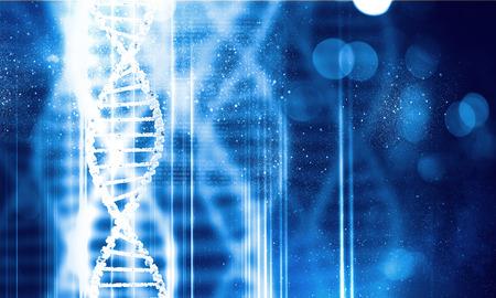 Digitale blaues Bild der DNA-Molekül und Technologiekonzepte