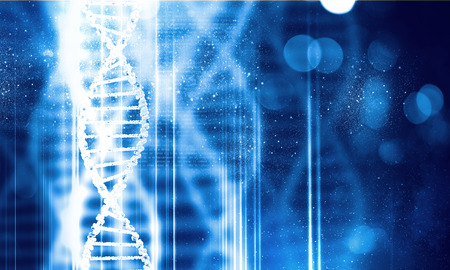 Digital blue image of DNA molecule and technology concepts Foto de archivo