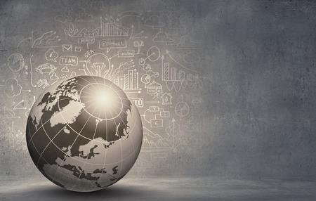 bola del mundo: Imagen digital de alta tecnología Fondo abstracto con globo