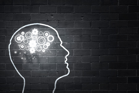 health industry: Silhouette of human head with gears mechanism instead of brain Stock Photo