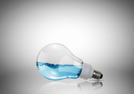 electrical energy: Energy and ecology concept with light bulb with water inside