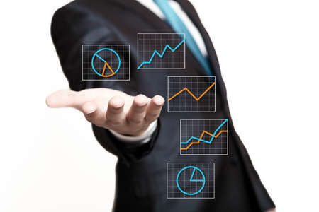 hand press: Hand of businessman presenting icons on virtual screen Stock Photo