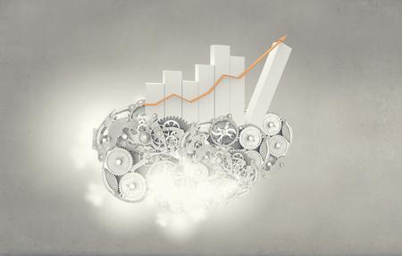 infochart: Infochart with gears and cogwheels representing growth concept