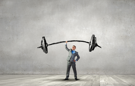 above head: Confident businessman lifting above head sketched barbell Stock Photo