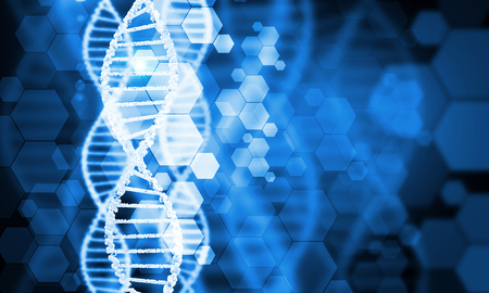 Digital blue image of DNA molecule and technology concepts 版權商用圖片