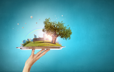 tree service business: Hand holding metal tray with modern cityscape Stock Photo