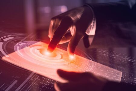the finger: Businessman pressing modern technology panel with finger print reader