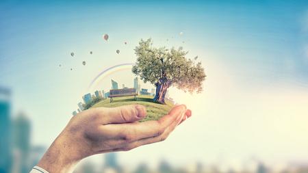 Sluit omhoog van hand houdend groen boomconcept Stockfoto