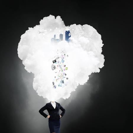 unrecognizable: Unrecognizable businesswoman with cloud instead of head Stock Photo