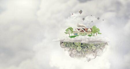 suburbian: House construction model with cogwheel mechanism on sky background
