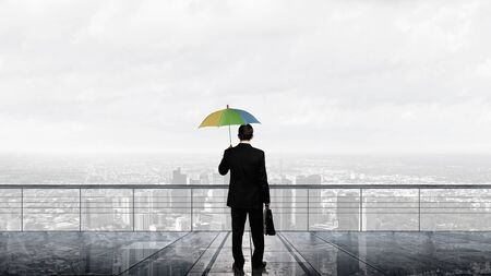 color consultant: Back view of businessman with umbrella looking at city