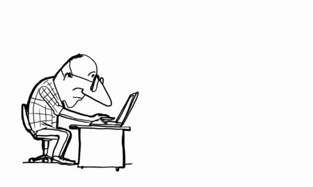 writer: Caricature of funny writer man on white background