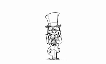 corporate greed: Caricature of funny banker man on white background Stock Photo