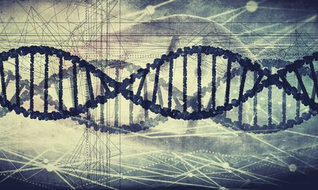 human evolution: Digital blue image of DNA molecule and technology concepts Stock Photo