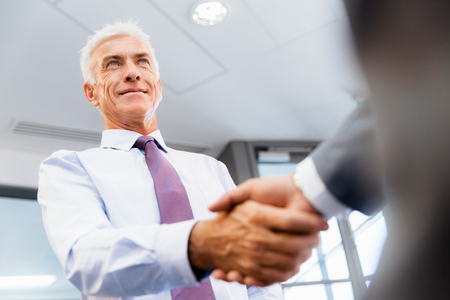 handclasp: Handshake of businessmen greeting each other