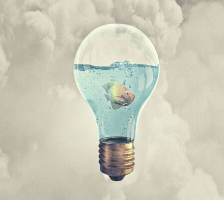 watts: Exotic fish in water inside electric light bulb Stock Photo