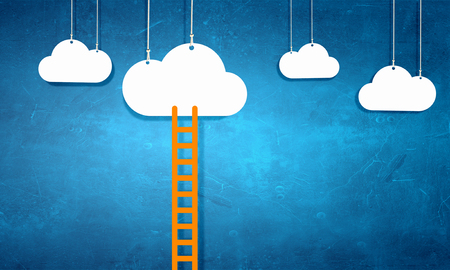 ladder: Conceptual image with ladder leading to white blank cloud