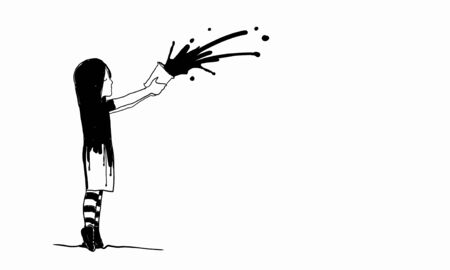 develope: Drawing of kid girl splashing paint from bucket