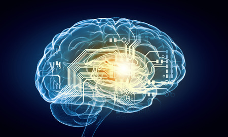 blue brain: Concept of human intelligence with human brain on blue background Stock Photo