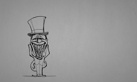 corporate greed: Caricature of funny banker man on gray background