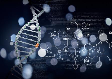celulas humanas: Concepto de la bioquímica con la molécula de ADN en el fondo azul