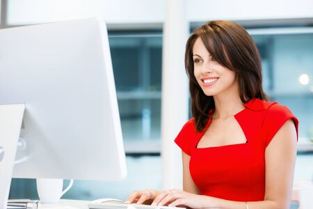 corporate women: Modern business woman working on computer