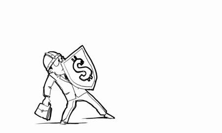 affraid: Scared businessman holding shield with dollar currency symbol