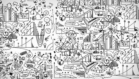 business ideas: Hand drawn business ideas sketch against white background