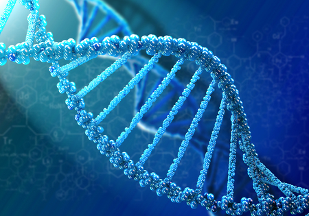 dna structure: Concept of biochemistry with dna molecule on blue background