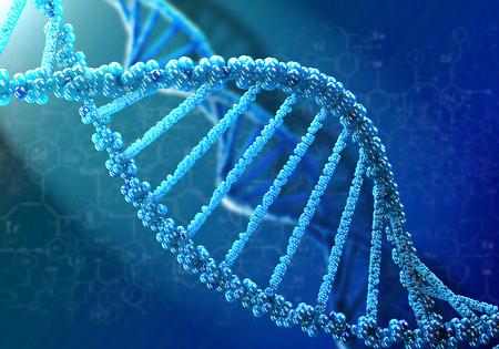 Konzept der Biochemie mit DNA-Molekül auf blauem Hintergrund