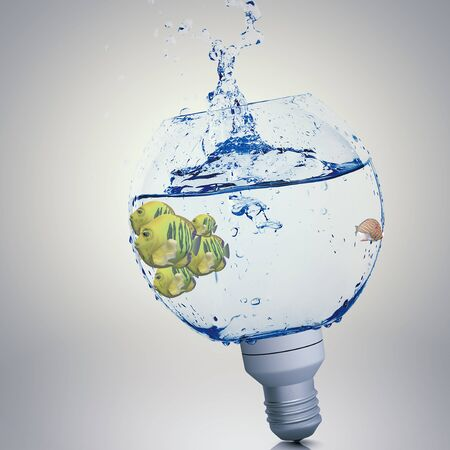 electric bulb: Exotic fish in water inside electric light bulb Stock Photo