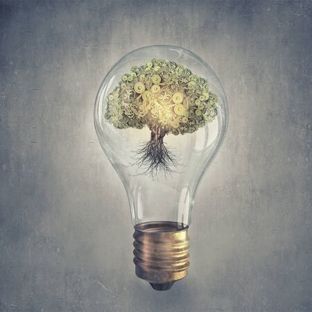 cogwheel: Glass light bulb with cogwheel mechanism inside
