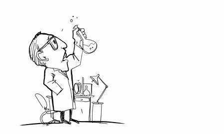 drawing cartoon: Drawing cartoon of scientist working with tubes in lab