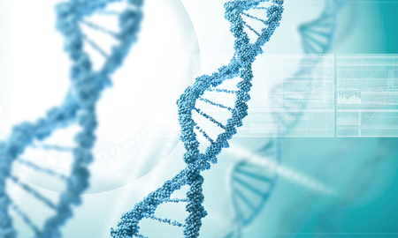 genomes: Concept of biochemistry with dna molecule on blue background