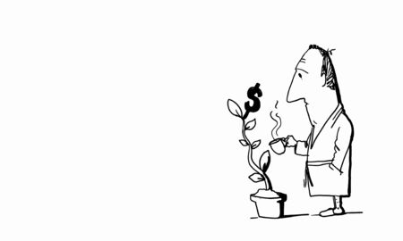 coffe tree: Caricature of funny businessman watering money tree on white background