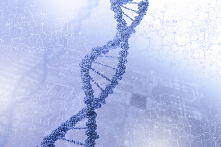 dna: Biochemistry background concept with high tech dna molecule
