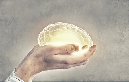 psychology: Close up of human hand holding brain Stock Photo