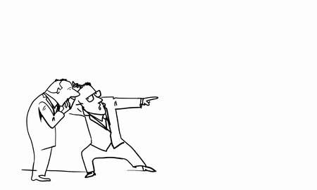 denunciation: Caricature of two funny men on white background