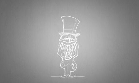 banker: Caricature of funny banker man on gray background