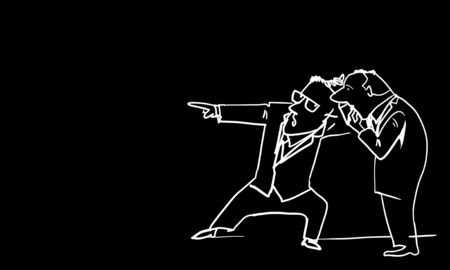 denunciation: Caricature of two funny men on black background