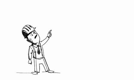 ingeniero caricatura: Caricatura del hombre constructor en casco en el fondo blanco Foto de archivo